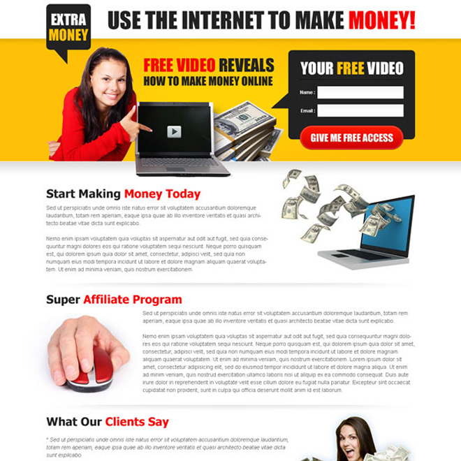 make money online with internet creative and converting lead capture landing page design Make Money Online example