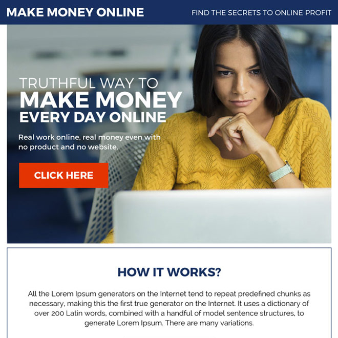 make money online premium ppv landing page Make Money Online example