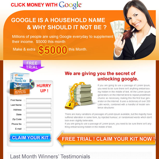 google money call to action lander design Google Money example