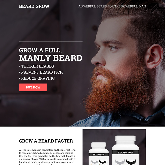 male beard growth product selling responsive landing page Health and Fitness example