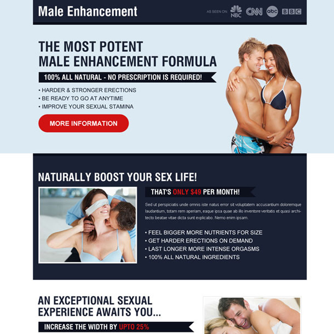 most potent male enhancement formula creative call to action landing page Male Enhancement example