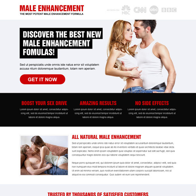 male enhancement formula call to action effective landing page Male Enhancement example