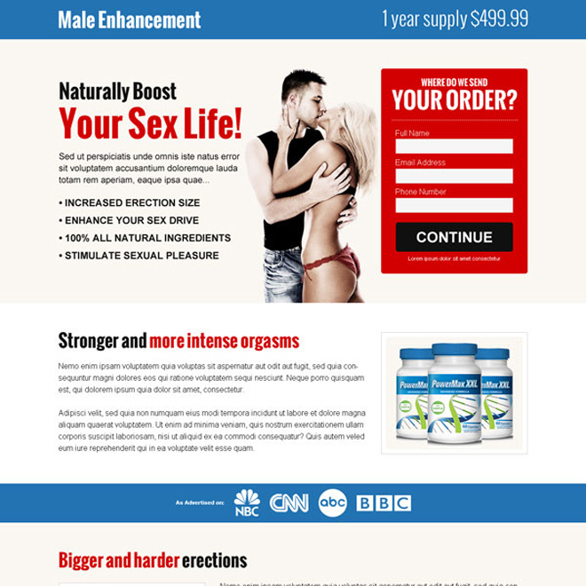 male enhancement product selling lead capture landing page design templates to boost your sex life naturally Male Enhancement example
