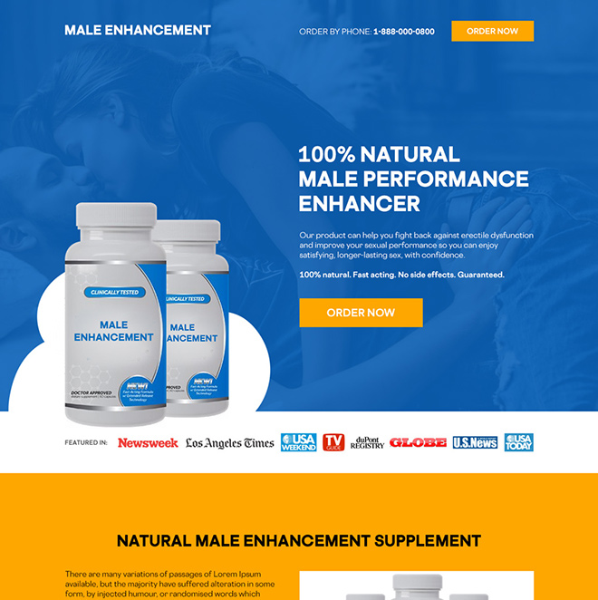 natural male performance enhancer supplement responsive landing page Male Enhancement example