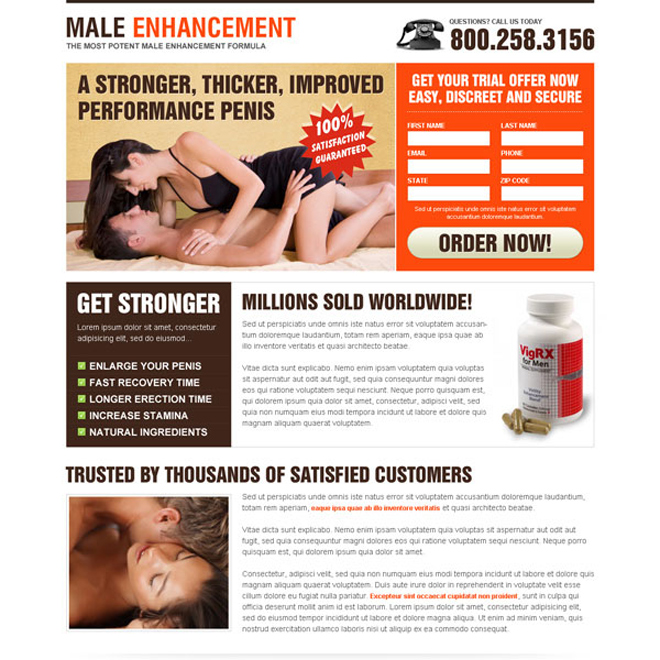 male enhancement product lead capture landing page design templates Male Enhancement example