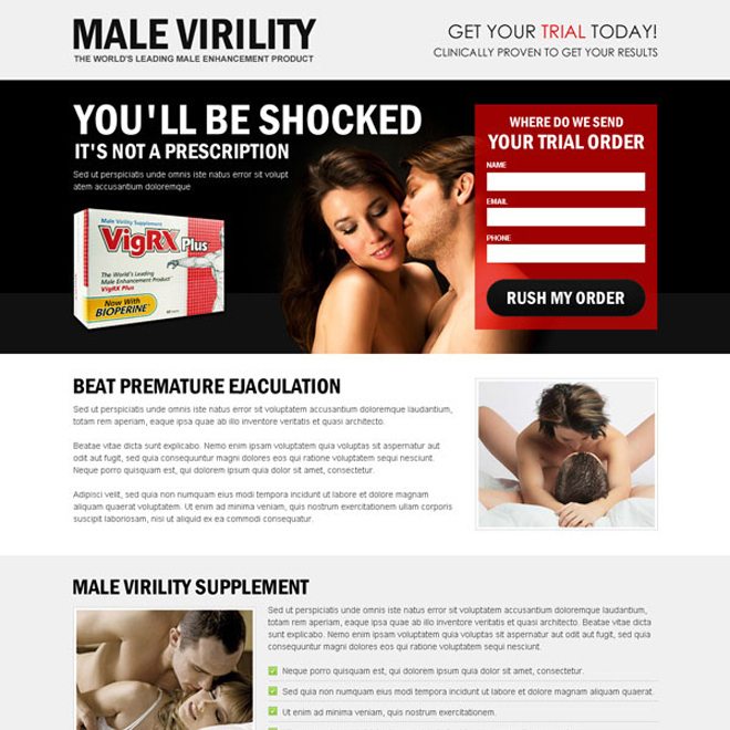 male virility effective trial lead capture high converting lander design Male Enhancement example