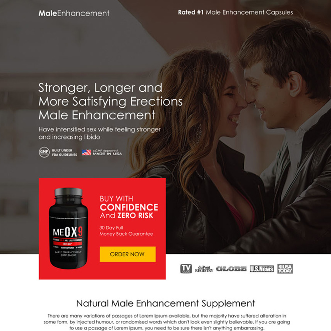 male enhancement product sales boosting responsive landing page Male Enhancement example