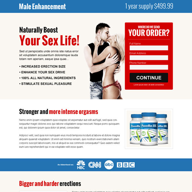 naturally boost your sex life clean and converting male enhancement landing page design template Male Enhancement example