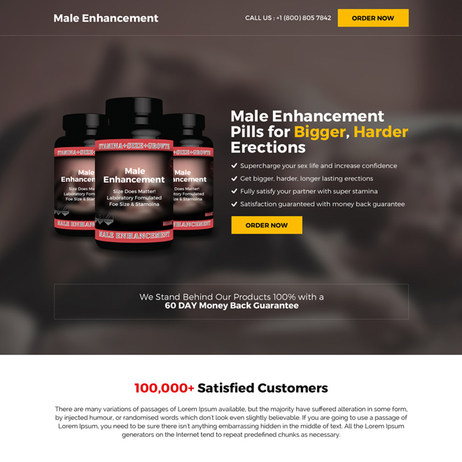 male enhancement supplement selling bootstrap landing page Male Enhancement example