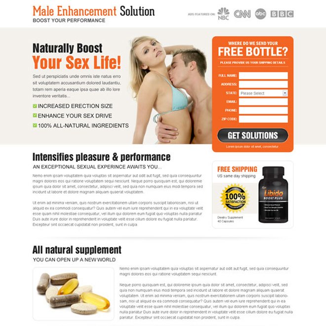 male enhancement solution lead capture landing page design Male Enhancement example