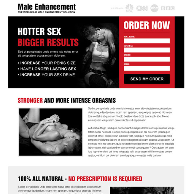 male enhancement solution responsive landing page design Male Enhancement example