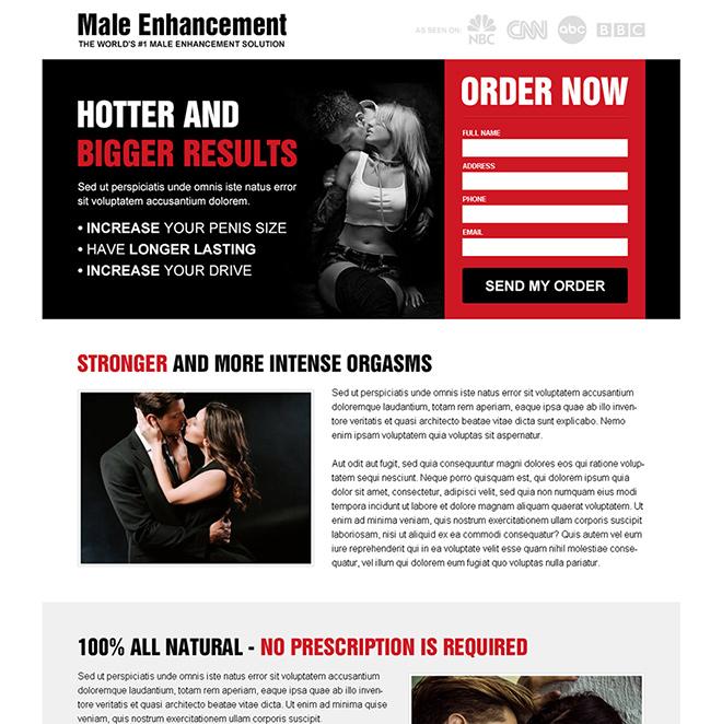 male enhancement solution responsive landing page design Male Enhancement example