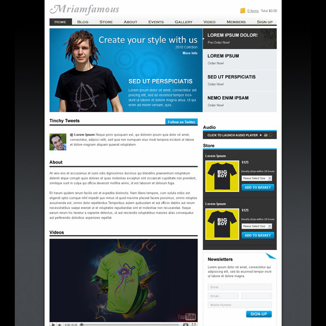 man fashion website template design psd Website Template PSD example