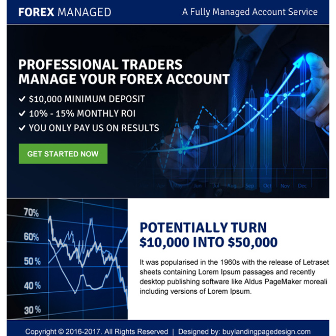 professional traders call to action landing page design Forex Trading example
