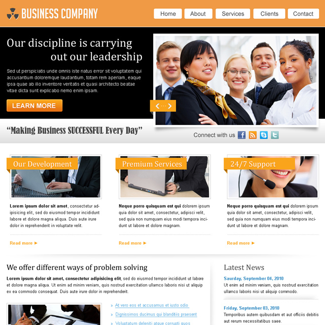 marketing business company website template design psd for sale Website Template PSD example