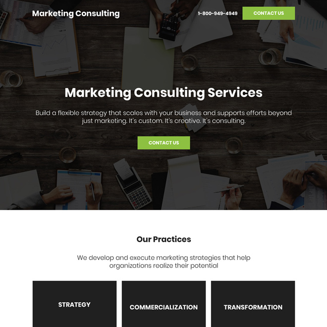 marketing consultancy services bootstrap landing page design Marketing example