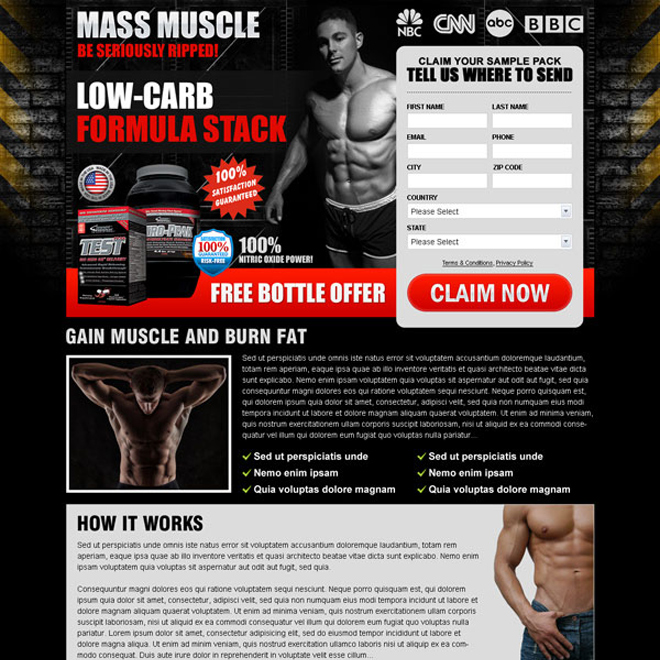 low carb formula stack product lead capture effective lead capture squeeze page design Bodybuilding example