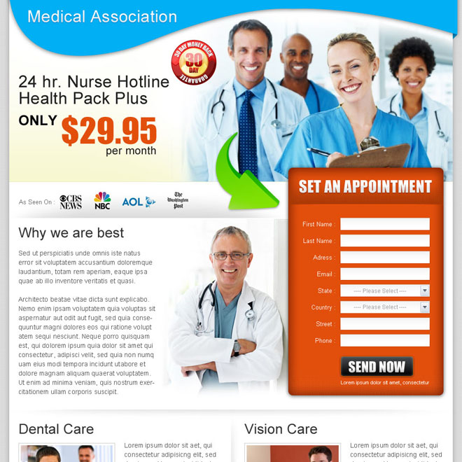 medical appointment lead capture landing page design for sale Medical example