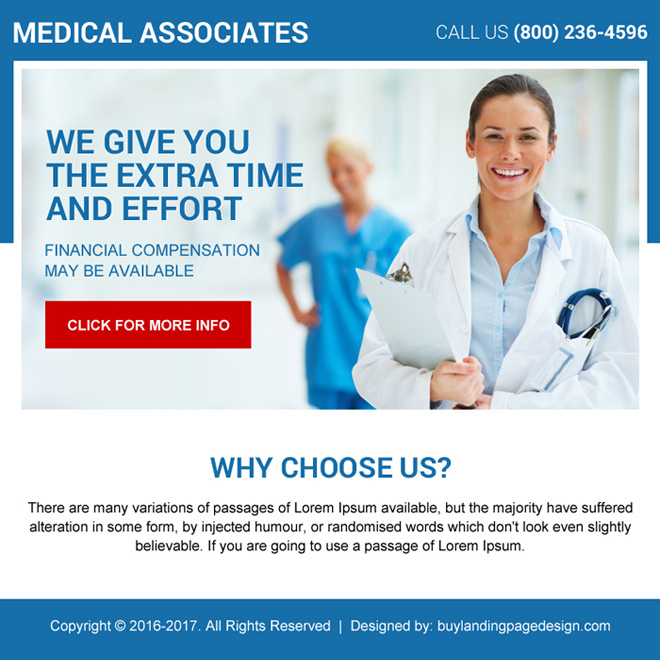 clean medical associates ppv landing page design Medical example