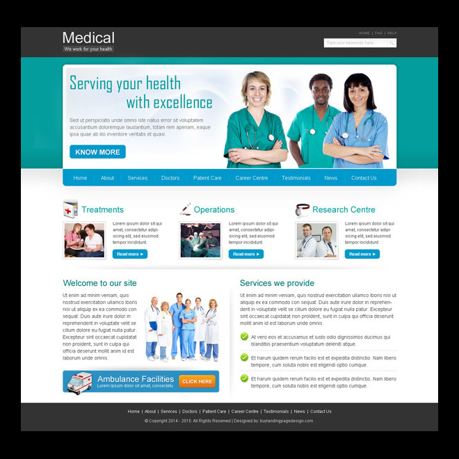 serving your health with excellence clean and effective medical business website template design psd Website Template PSD example