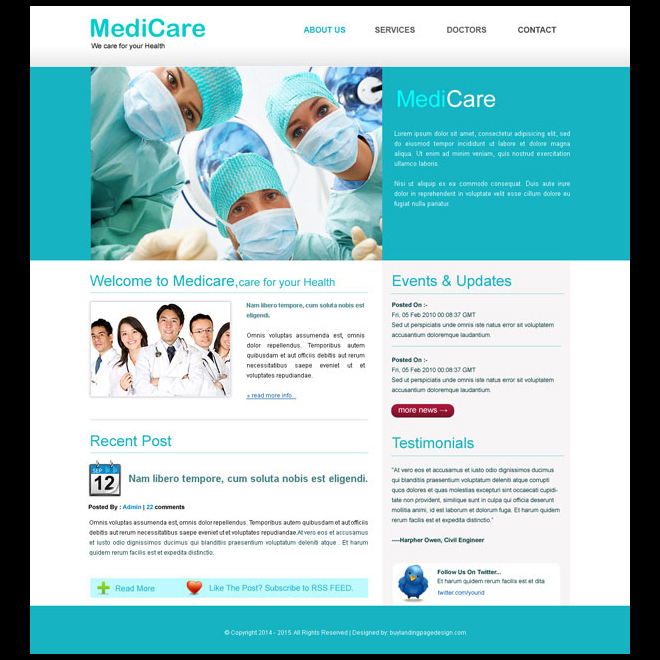 medicare clean website template design Website Template PSD example