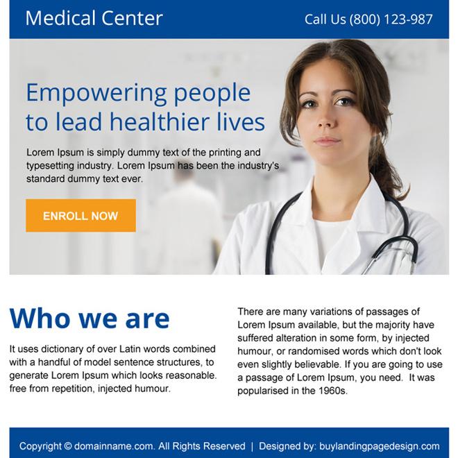 medical center lead capturing minimal ppv design Medical example