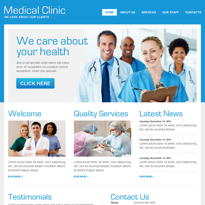 converting html website template for medical services Medical example