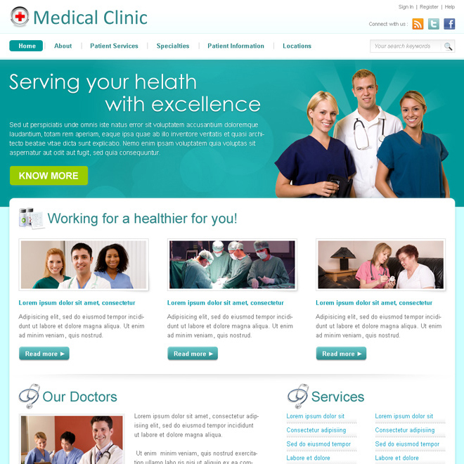medical clinic professional website template design psd to create your website Website Template PSD example