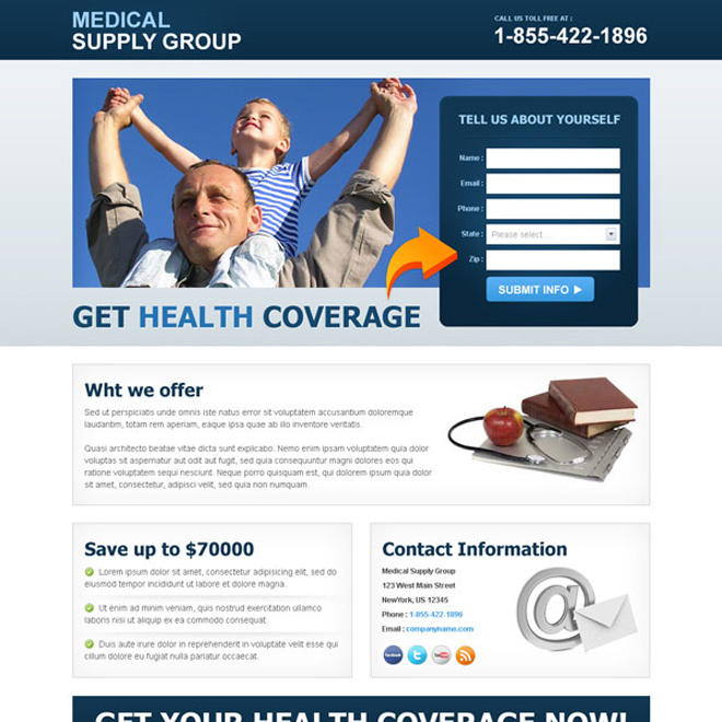 health coverage lead capture clean landing page Medical example
