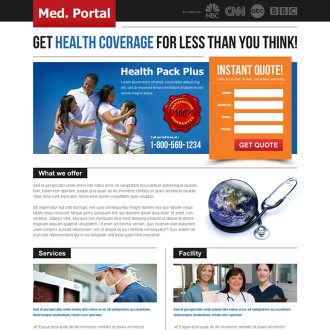 get health coverage instant quote creative and attractive landing page design to capture leads Health Insurance example