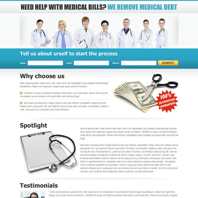 remove medical debt lead capture landing page Medical example