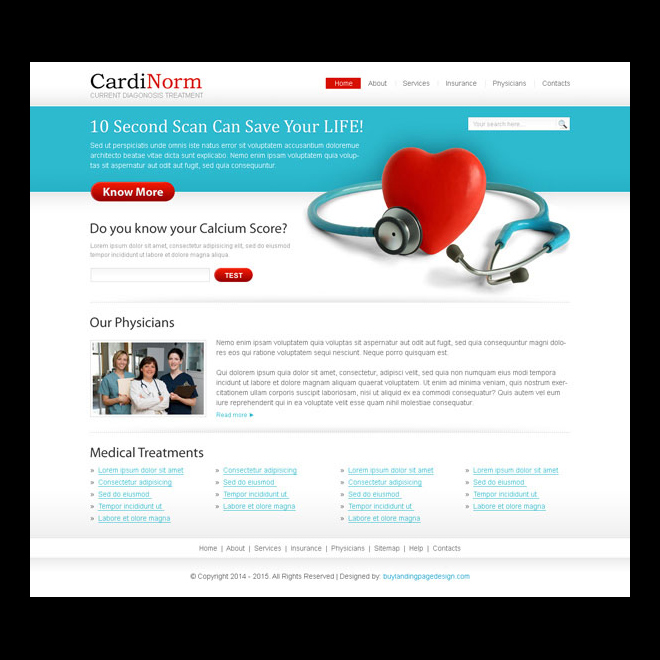 clean and very appealing medical diagnosis lead capture website template design psd Website Template PSD example