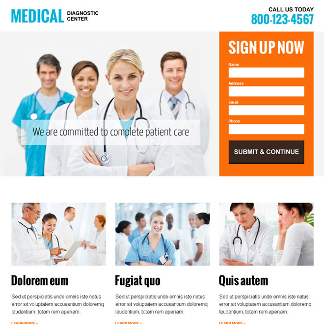 medical diagnostic center clean and informative landing page design template to capture leads Medical example