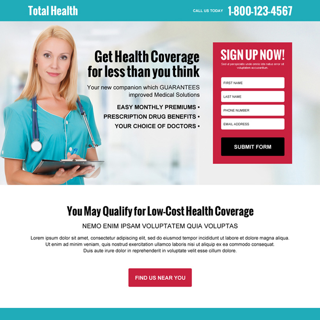 free medical health coverage quote high converting responsive landing page design Health Insurance example
