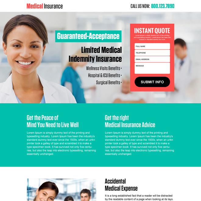 medial insurance instant quote responsive landing page design Health Insurance example