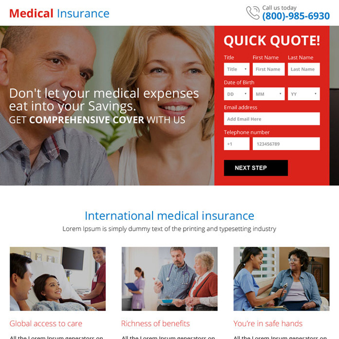 medical insurance quick quote mini landing page design Health Insurance example