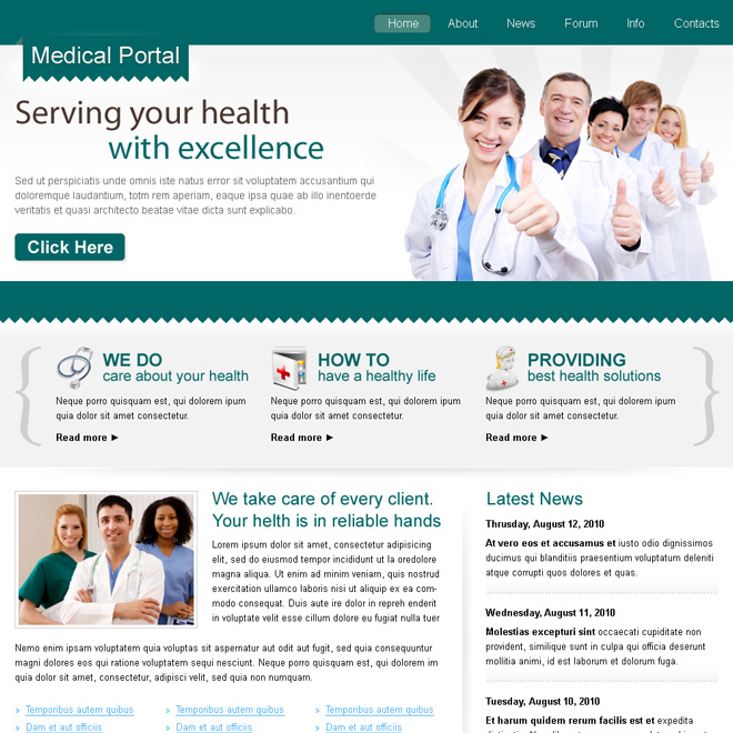 clean medical portal website template design psd Website Template PSD example