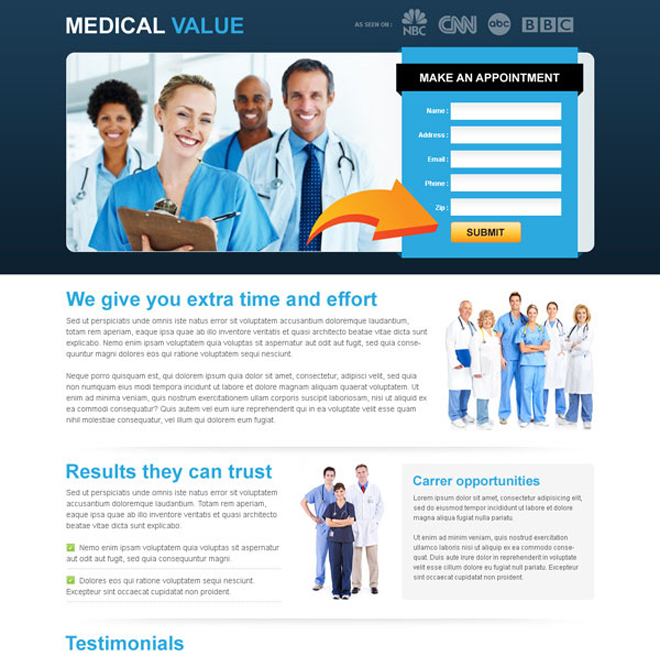 medical service make an appointment lead capture clean landing page template Medical example