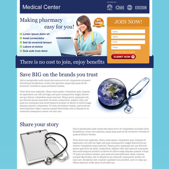 medical center small lead capture landing page design Medical example