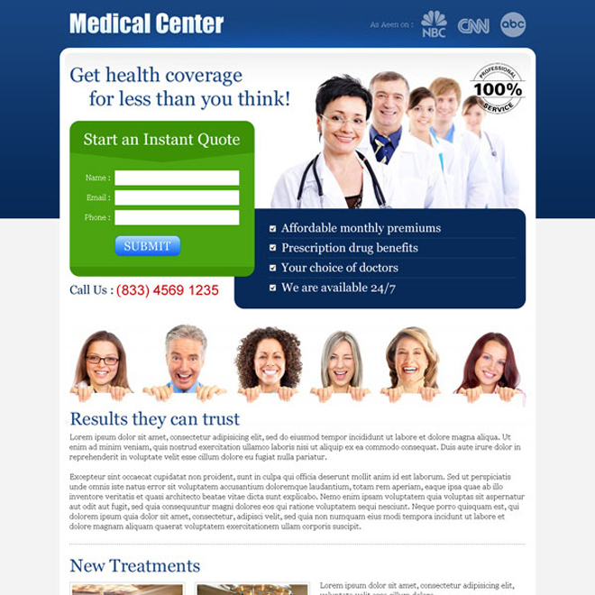 health insurance instant quote small lead capture landing page Medical example