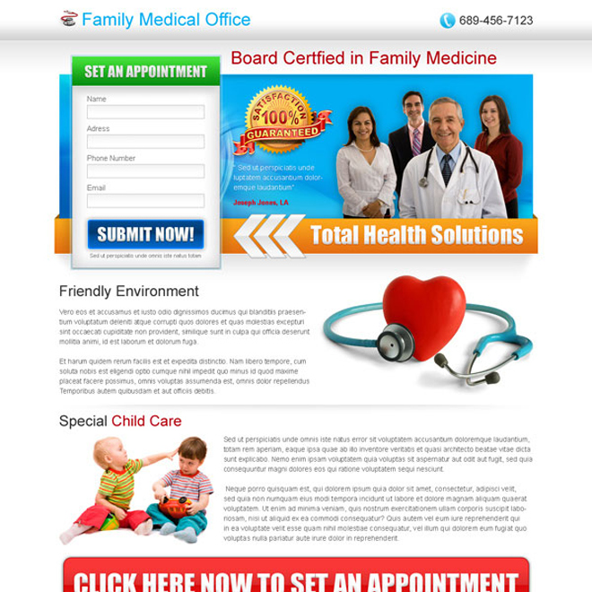 medical service lead capture landing page design Medical example