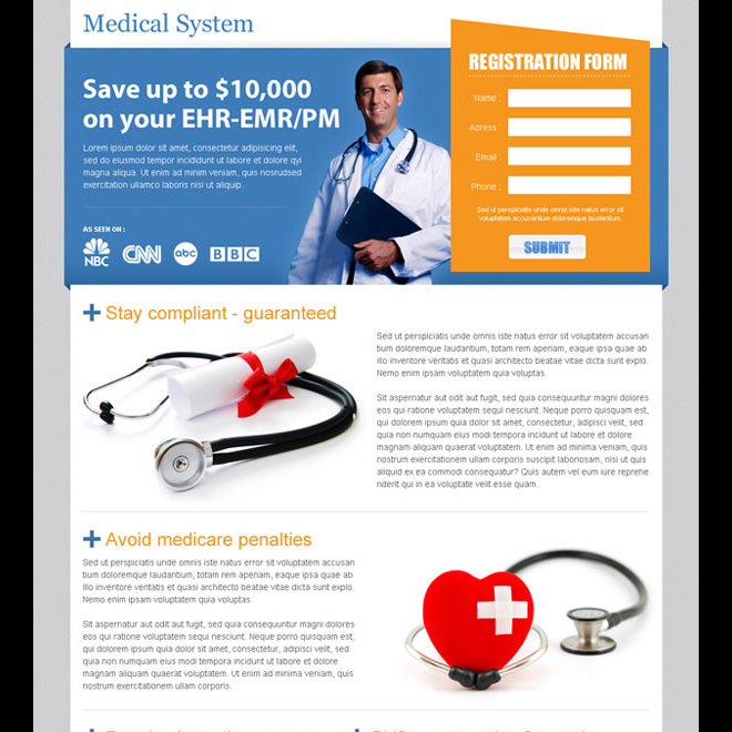 medical service lead capture page design Medical example
