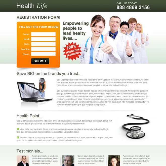 healthy life registration lead capture page to boost your leads Medical example