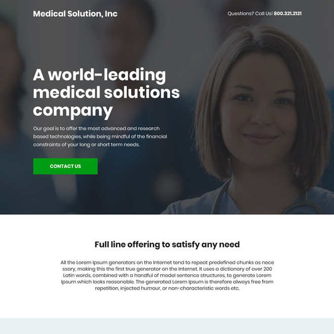 medical solution company bootstrap landing page design Medical example