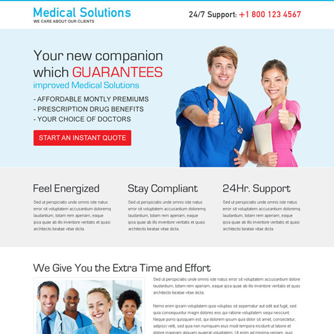 medical solutions clean and converting CTA landing page design Medical example
