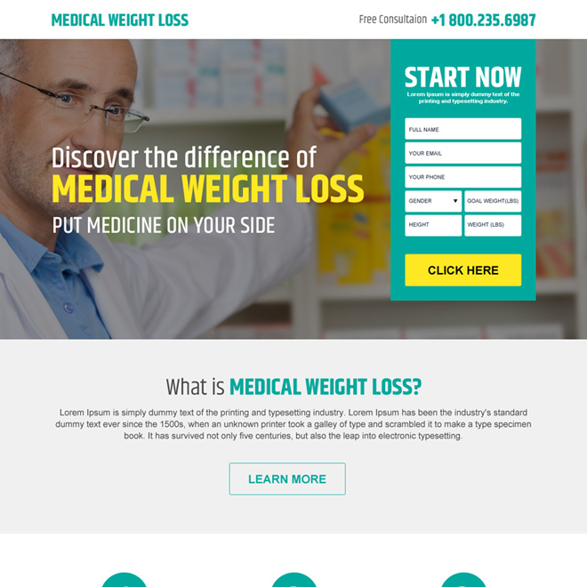 medical weight loss consultation responsive landing page design Weight Loss example