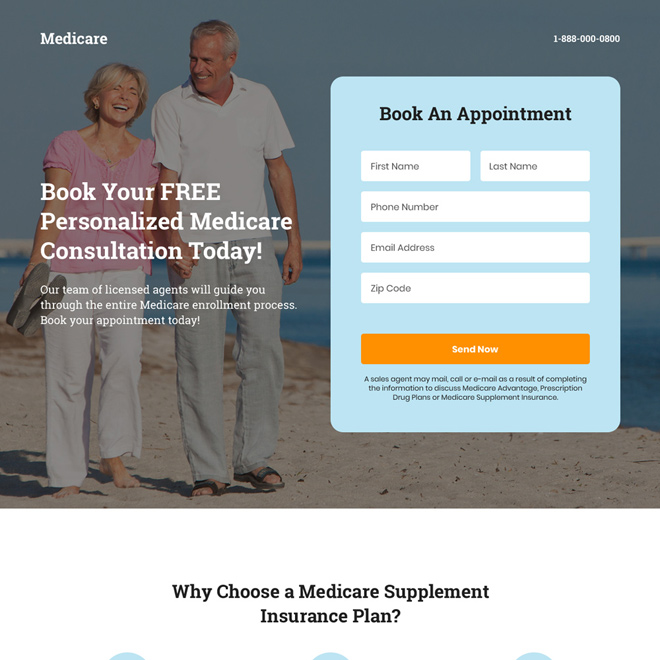 medicare appointment booking responsive landing page design Medicare example