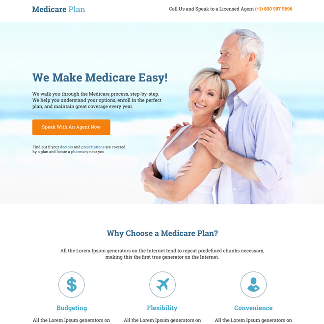 professional medicare plan responsive landing page Medicare example