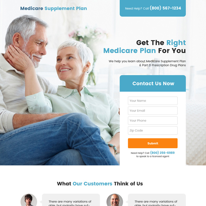 medicare supplement plan lead capture landing page design Medicare example