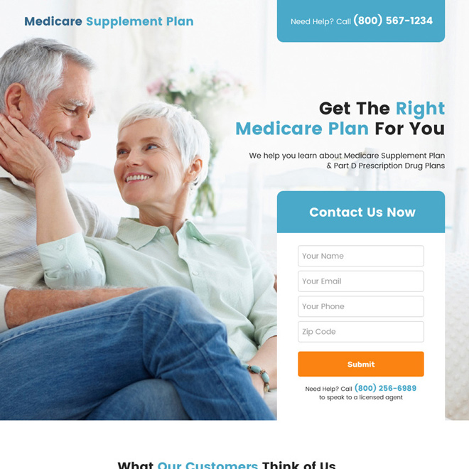 medicare plan lead capture responsive landing page Medicare example
